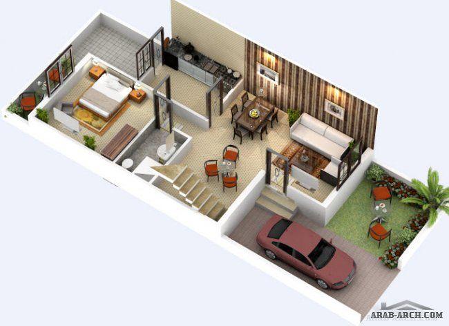 مخطط فيلا مودرن صغيرة المساحه الدور الارضى 73 متر مربع المساقط 3d Narrow House Residential Land Building