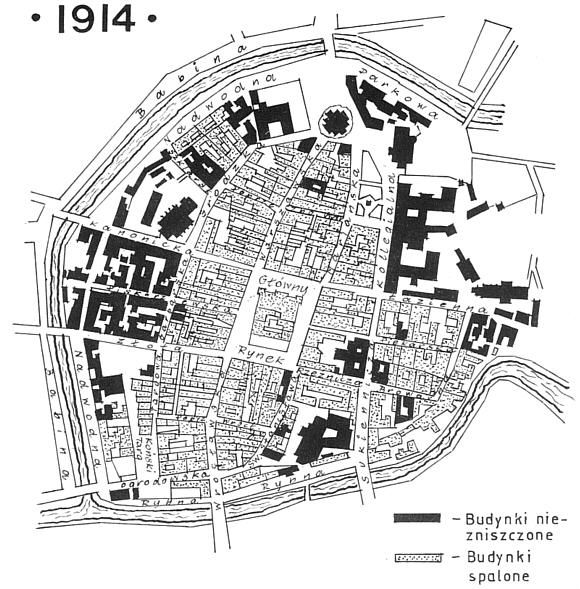 Map of Kalisz - 1914