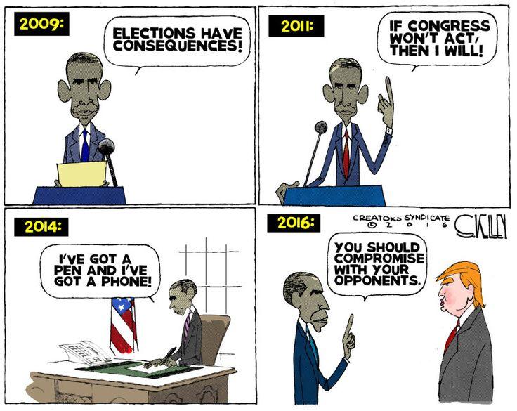 Editorial cartoon by Steve Kelly found on theweek.com on November 16. 2016