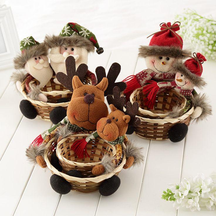 Новогодняя распродажа украшения 2016 новогодние подарки конфеты Корзина хранения Корзина хранения подарок украшения Санта-Клаус навидад Натал