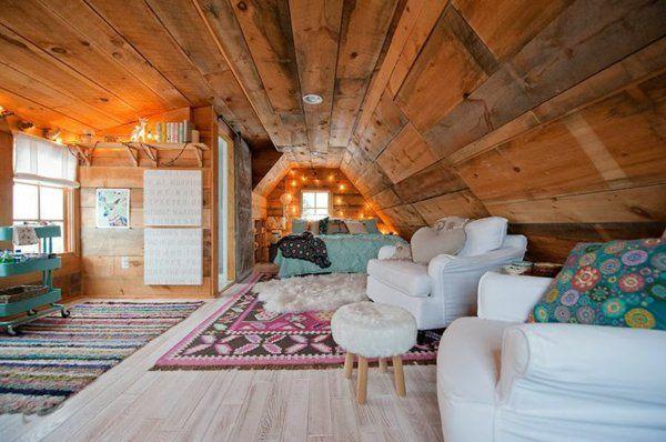 jugendzimmer einrichten dachzimmer bett sofa hocker