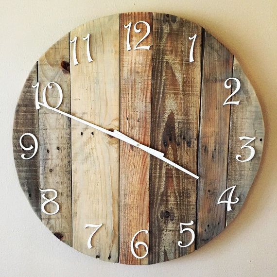 Rustic Wooden Pallet Clock - Upcycled pallet wood, sanded, stained and made with love! Item is customizable (i.e. size, stain). Clock in picture is 28