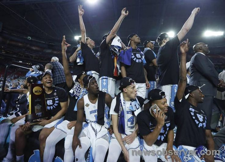 "The North Carolina basketball team watch ""One Shining Moment"" after UNC's victory over Gonzaga in the NCAA Division I men's basketball national championship game at the University of Phoenix Stadium in Glendale, AZ, Monday, April 3, 2017."