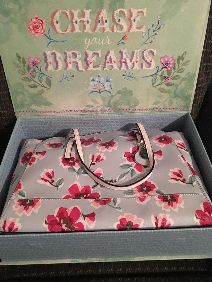 GUESS ASHVILLE Womens Satchel Handbag Bag Purse Tote Multi Floral Large