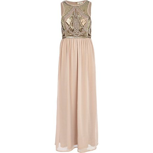 Beige embellished chiffon maxi dress