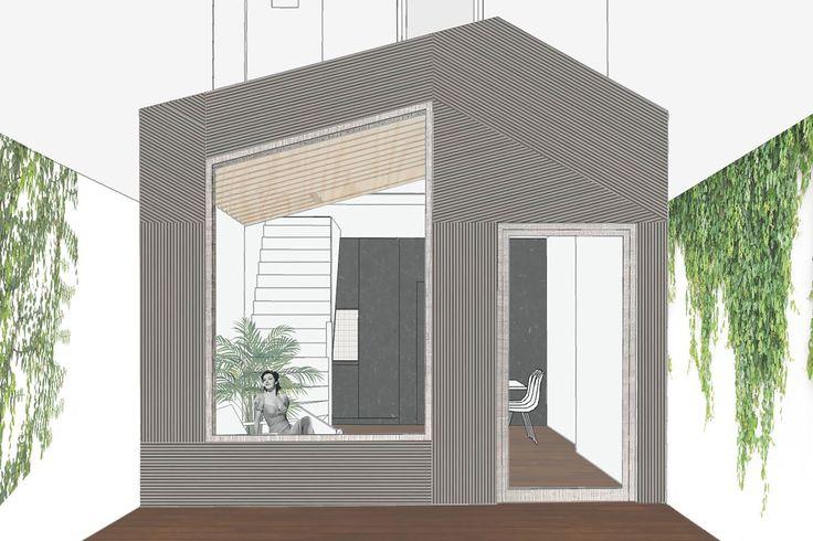 Verbouwing en uitbreiding van een rijwoning / extension and renovation of a small city house - Eternit Linea - multiplex - zichtbare balken - hellend dak