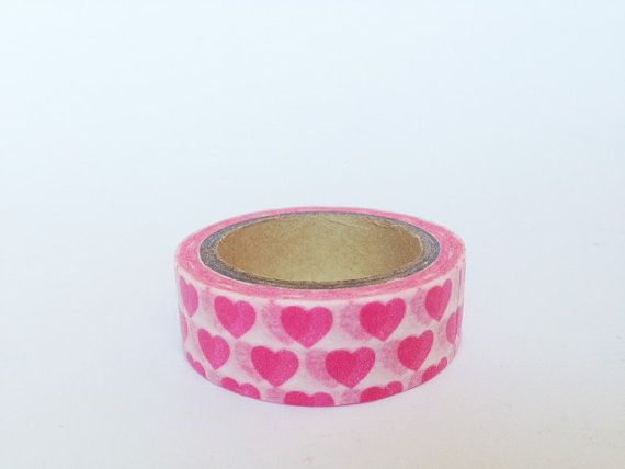 Washi+Tape+cuori+rosa+su+base+bianca+/+Pink+Hearts+on+by+Partytude