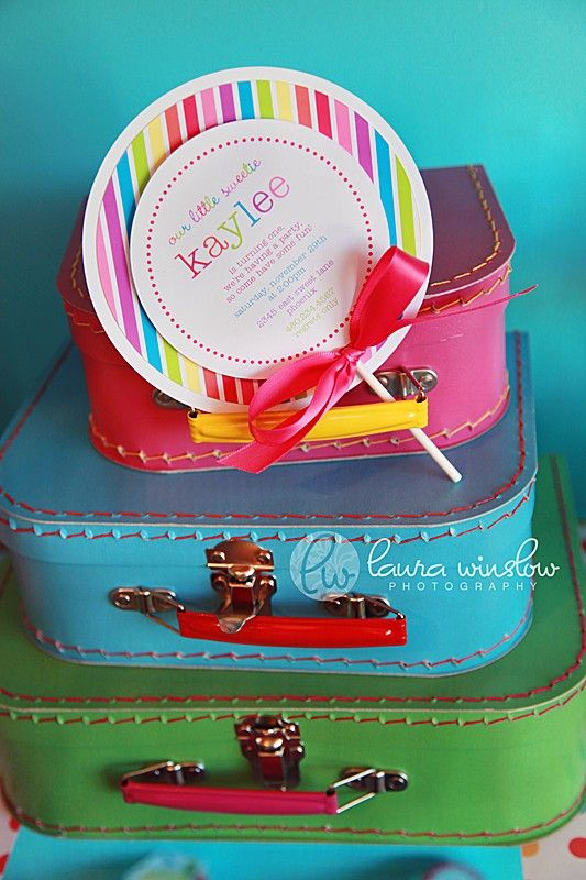 Lollipop Party Invitation - Printable Top Layer and Striped Paper - The TomKat Studio. $17.50, via Etsy.