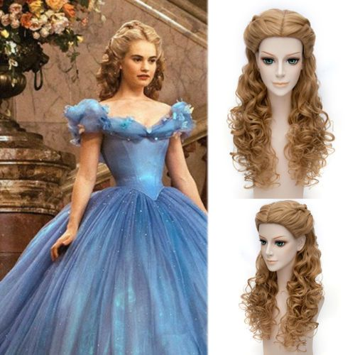 New-Princess-Cinderella-Wig-Long-Brown-Synthetic-Wavy-Cosplay-Wig-Party-Cosplay