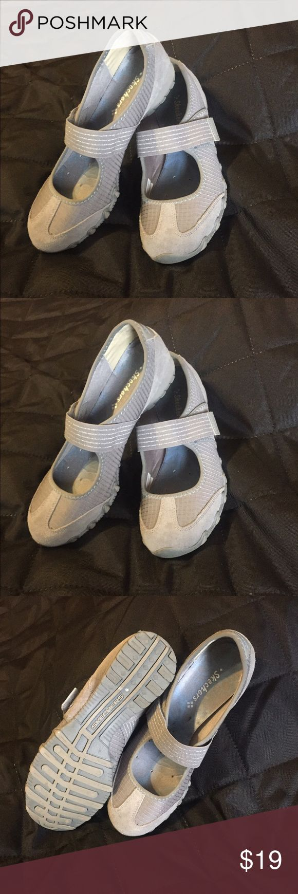 Skechers Gray Bikers Epic Mary Jane Walking Shoes LIKE NEW!!! Skechers  Mart Jane style walking shoe with adjustable Velcro closing and cool satin-like lining. $59 retail. Skechers Shoes Sneakers