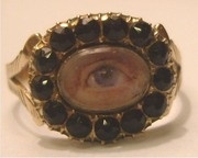 Rare Exceptional Georgian Lover Eye Miniature Jet Gold Ring 1830