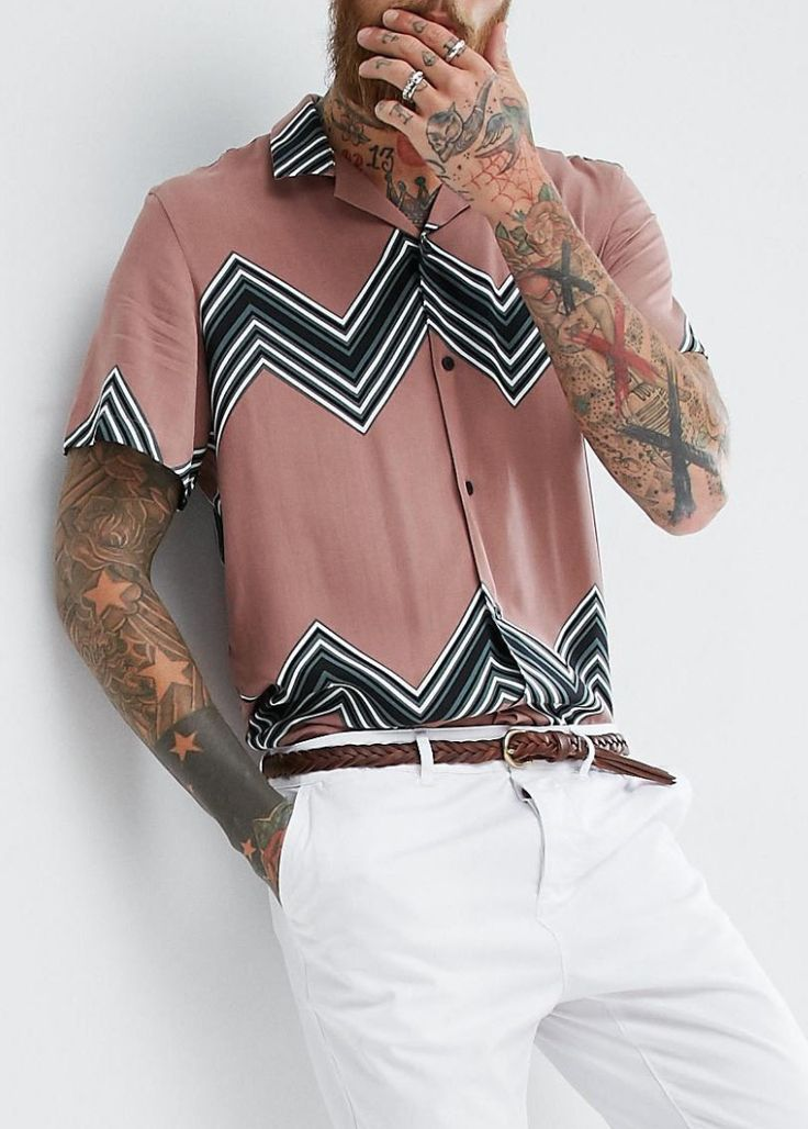 ASOS Oversized Viscose Chevron Stripe Shirt In Pink from ASOS (men, style, fashion, clothing, shopping, recommendations, stylish, menswear, male, streetstyle, inspo, outfit, fall, winter, spring, summer, personal)