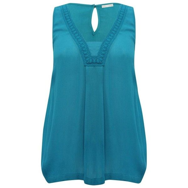 M&Co Plus Sleeveless Crochet Trim Top ($31) ❤ liked on Polyvore featuring tops, plus size, turquoise, turquoise top, plus size sleeveless tops, womens plus tops, sleeveless tops and blue top