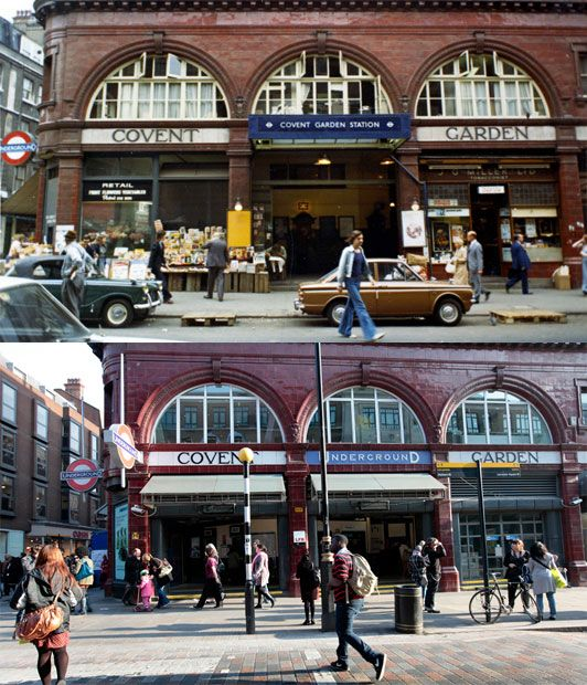 Covent Garden Tube station in 1973 and today