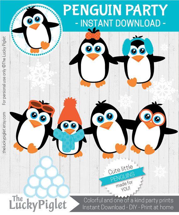PINGUIN-DEKORATIONEN, PENGUIN CUT OUTS/MITTELSTÜCKE   SOFORTIGER DOWNLOAD DER DIGITALEN DATEI   DRUCKEN UND SCHNEIDEN Sie erhalten eine Pdf mit 6 verschiedenen und einzigartigen Pinguine. Sie sind alle 6 Zoll groß und bereit, gedruckt und geschnitten werden.  ► Eine komplette, passende Penguin Party Paket mit Cupcake Wrappers, Banner, Cupcake Topper, Wasserflasche Etiketten, Etiketten von Lebensmitteln und vieles mehr gibt es hier: https://www.etsy.com/listing/267228899  ► Weitere Penguin…