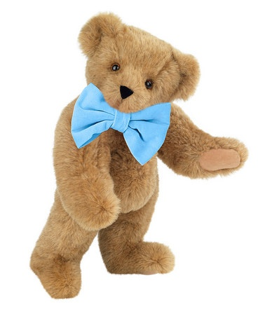 Vermont Teddy Bear Light Blue Velvet Bowtie 15'' Classic Bear