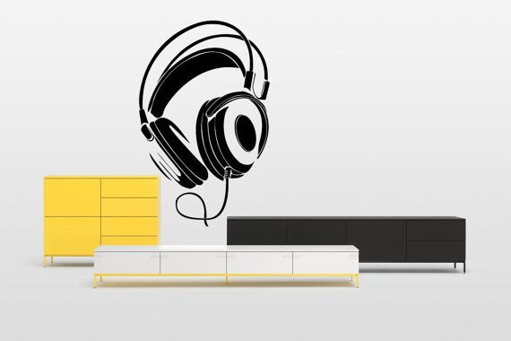 Removable Vinyl Sticker Mural Decal Wall Decor Poster Showcase Electronic Dance Music EDM Trance DJ Cool Headphones Love Sound Stereo F1964