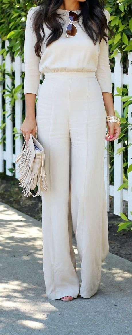 Ivory blouse with matching wide-legged slacks, monochromatic outfit my style