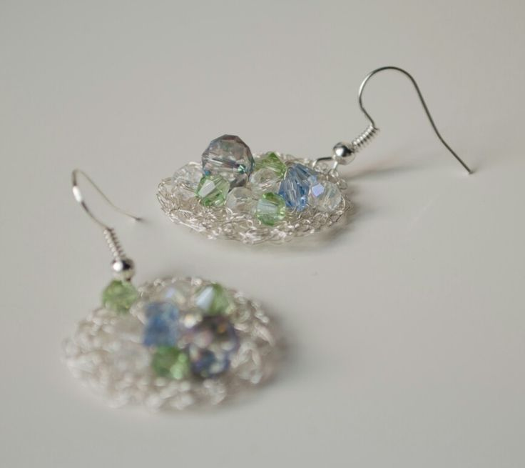crochet earring mix with beautiful crystals