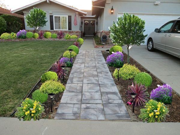 exterior design ideen vorgarten gestalten bunte pflanzen pfad steinpflaster