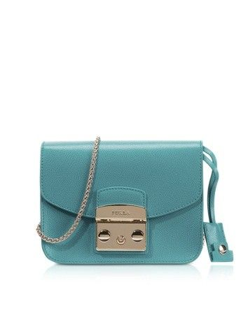 METROPOLIS AQUAMARINE BLUE LEATHER SHOULDER BAG FURLA