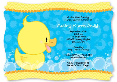 Duck Baby Shower Invitations, Ducky Shower Invitations, Rubber Duckie Invites