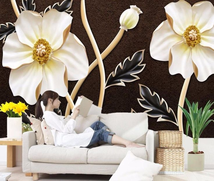3D Wallpaper Bedroom Mural Roll flowers Background Luxury Embossed Modern
