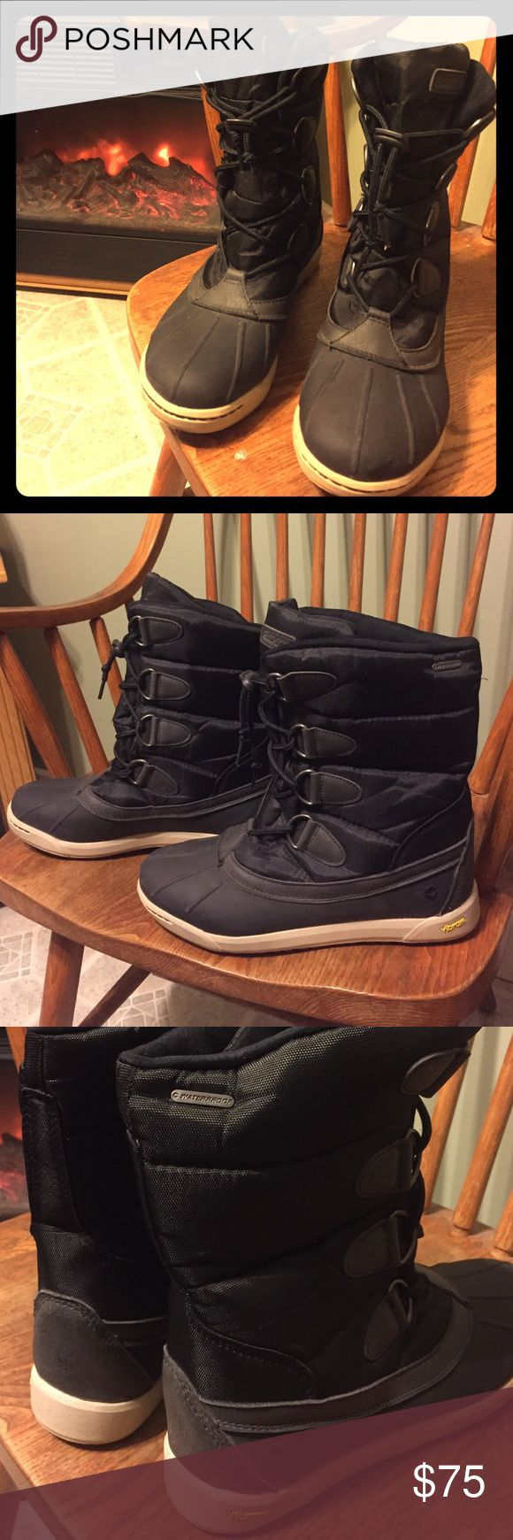 Hi Tec Boots 100% waterproof super soft interior These boots are awesome! So comfortable. Excellent condition. The inside is so soft and nice. Durable. Quality Brand . All black with tan soles drawstring laces. Hi-Tec Shoes Winter & Rain Boots
