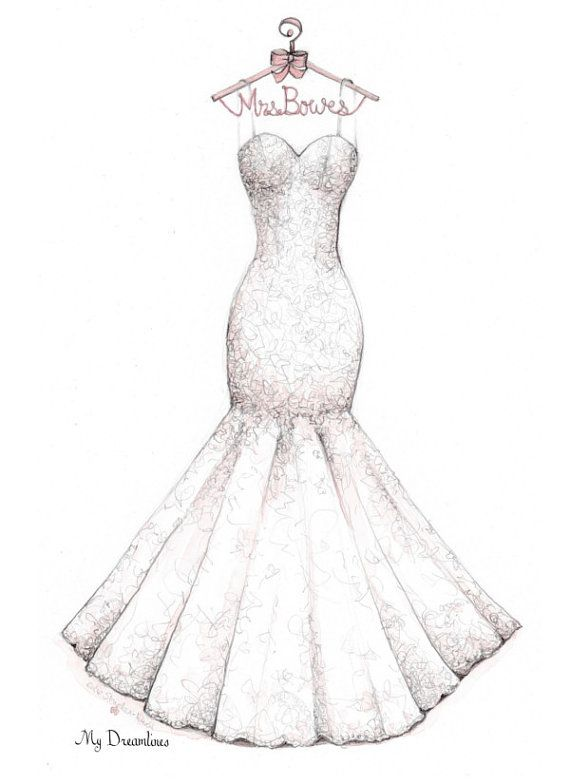 Wedding Dress Sketch Bridal Shower Gift Wedding by Dreamlines