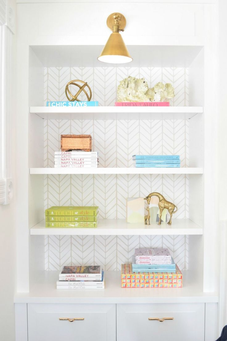 Creative uses for wallpaper | Feather Wallpaper via Serena & Lily | Image via Nesting with Grace