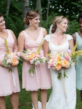 Misty Rose Chiffon Heidi Silk Feminine Bridesmaid Mob Dress J Crew