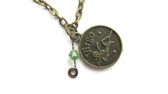 Virgo Birthstone Necklace, Zodiac Charm Sun Sign Aug or Sept Swarovski Birthstone Jewelry, Zodiac Statement Necklace, Astrological Jewelry,