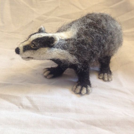 Needle Felted Badger Sculpture by WoollyWildThings on Etsy