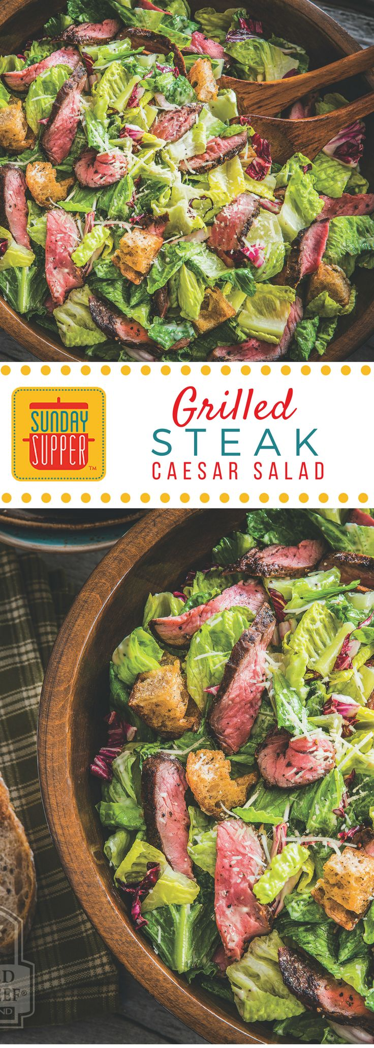 We love Caesar salad as a side dish, but add some steak and your Grilled Steak Caesar Salad becomes a main course, healthy and filling! #SundaySupper