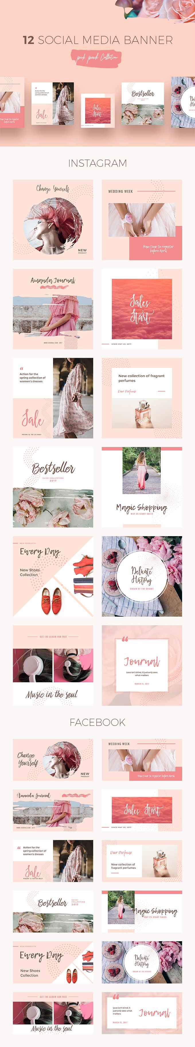Peach Social Media Templates - download freebie by PixelBuddha #ad
