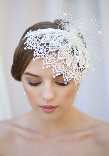 Collected Kisses Hairpiece  Description: Textured tulle and scalloped ivory lace adorn this unforgettable, vintage-inspired hairpiece. 8″ lace http://greenweddingshoes.com/shop/hair-accessories/page/2/