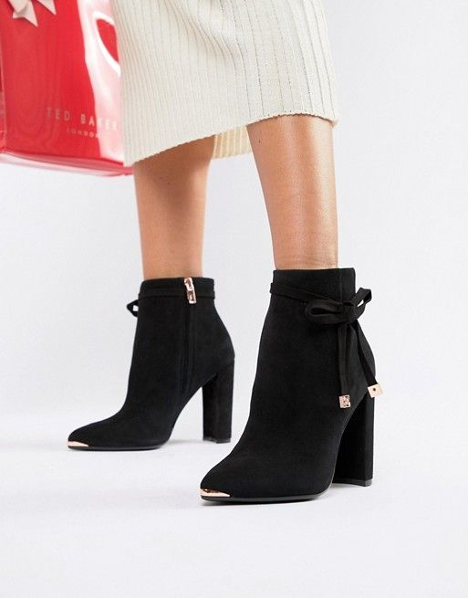 49f4bbb7a3 Ted Baker Black Suede Heeled Ankle Boots with Bow in 2019 | My Own ...