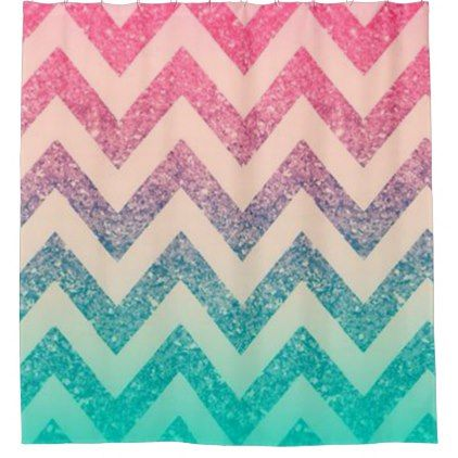 #Cool Trendy  Ombre Zigzag Chevron Pattern Shower Curtain - #trendy #gifts #template