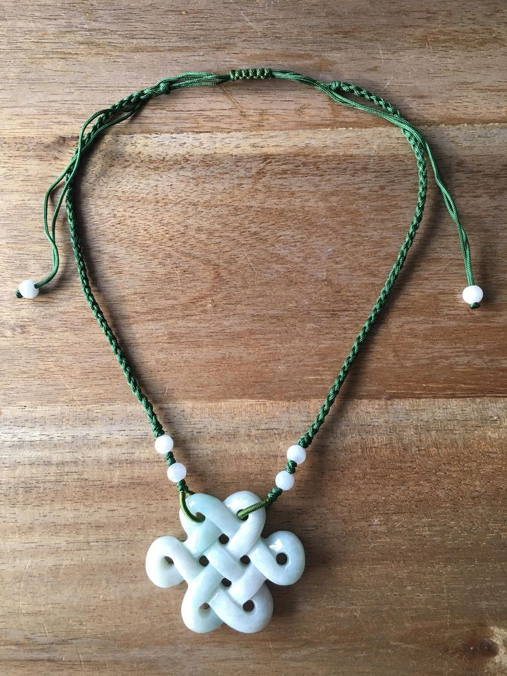 Carved Jade Pendant, Jade Endless Knot Pendant Necklace, Light Green Jade Chinese Endless Knot (盤祥結) Pendant Adjustable Green Cord Necklace by RitaCollection on Etsy