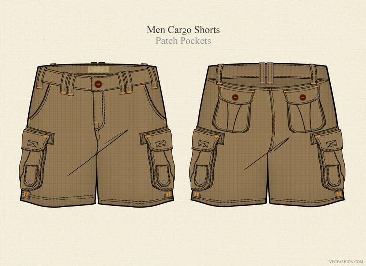 Men Cargo Shorts Vector Template by VecFashion on Creative Market