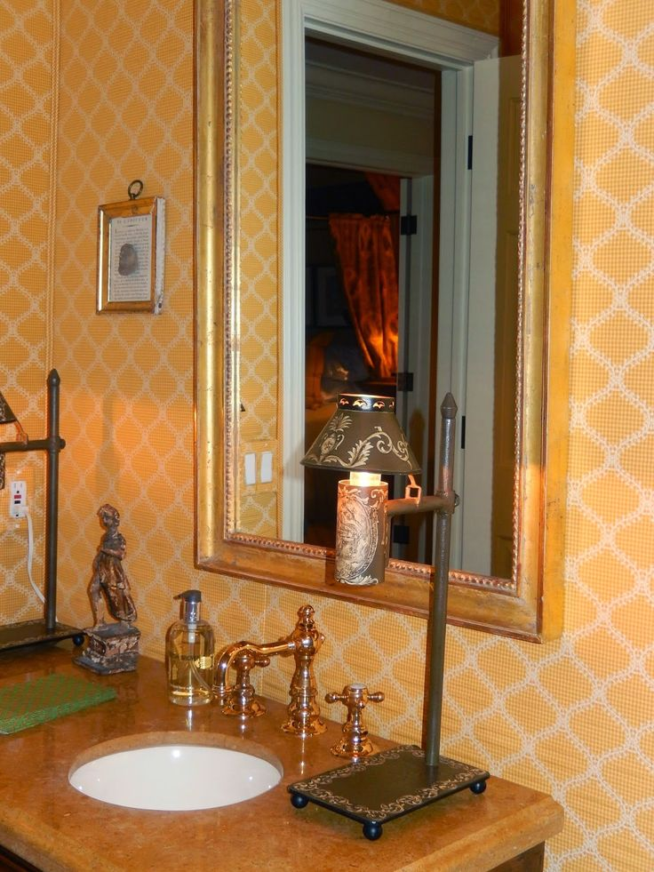 69 best powder rooms images on pinterest bathroom for Tangerine bathroom ideas