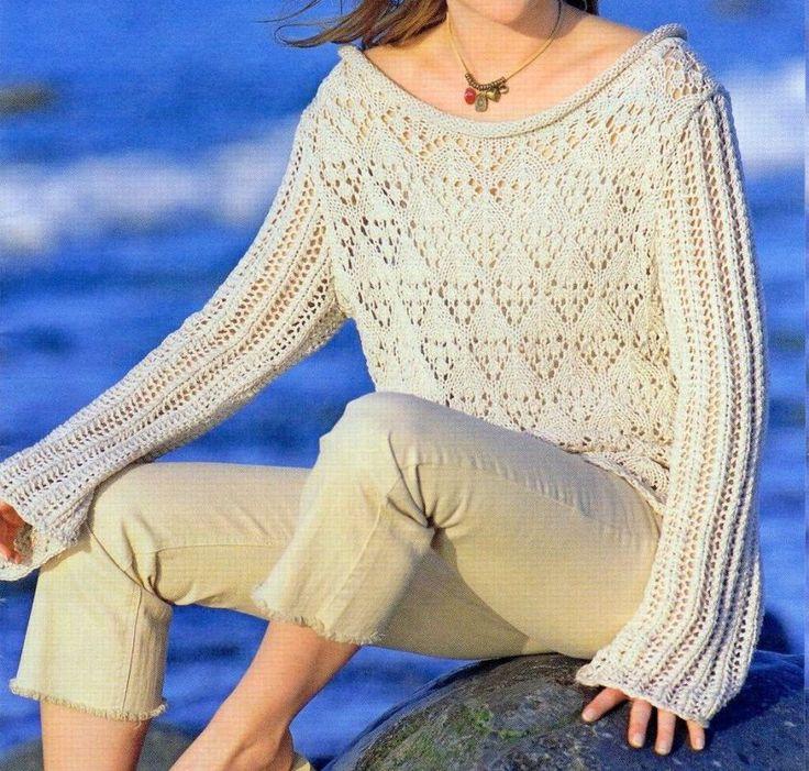 Maglione beige lavori a maglia ajour