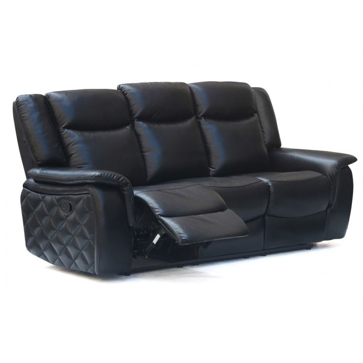Black Leatherette Dual Reclining Sofa W/ Quilted Sides #dynamichome #sofa  #black #