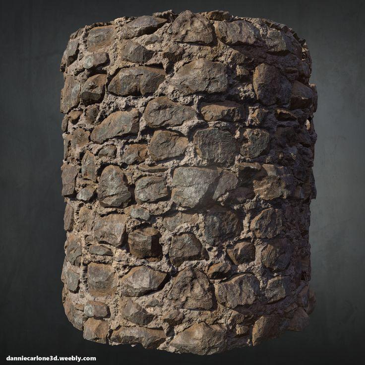 ArtStation - Old Stone Wall - Zbrush + Substance Designer, Dannie Carlone