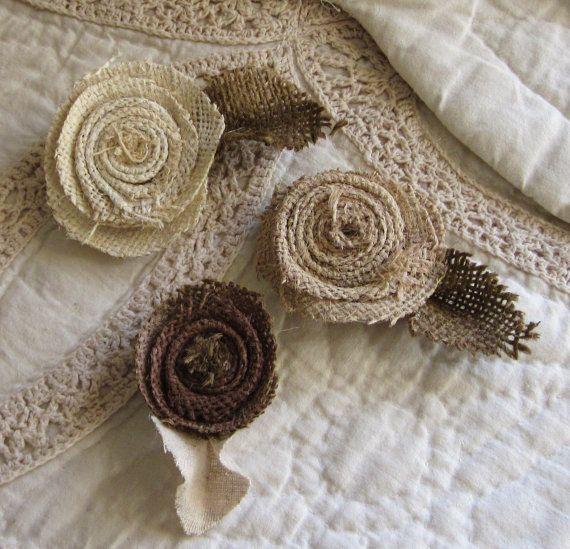 Shabby chic magnets, handmade burlap flower magnets