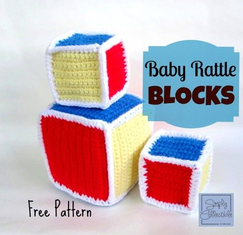 Baby Rattle Blocks | Free #crochet pattern by SimplyCollectibleCrochet.com