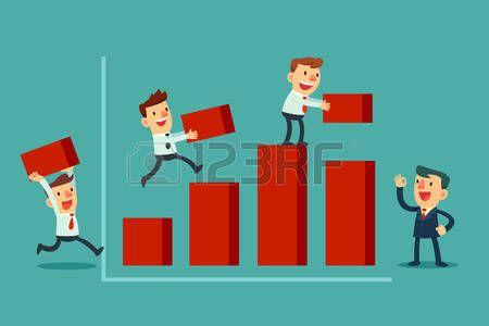Ilustración de equipo de negocios que trabajan juntos para construir gráfico de barras