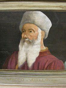 Portrait d'Ucello par un anonyme du 16°s. - Paolo Uccello (Florence: 1397- 1475). - Dans l'art de Paolo Ucello, l'influence de la fin du gothique s'allie à la rigueur de la forme plastique et de la perspective, recherches dont il fut l'un des principaux promoteurs à Florence au début du 15°s. Il fait partie des peintres du Quattrocento ayant marqué l'histoire par sa maîtrise des nouvelles règles de la perspective. Tout d'abord apprenti chez Lorenzo Ghiberti entre 1407 et 1414.
