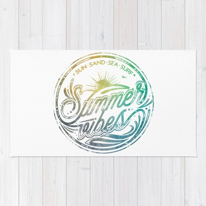 Buy Area & Throw Rugs with design featuring Summer vibes - typo artwork by HappyMelvin and adorn your home with both style and comfort. Available in three sizes (2' x 3', 3' x 5', 4' x 6').