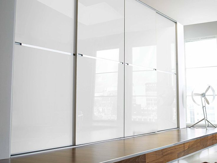 Solid White Acrylic Sliding Wardrobe